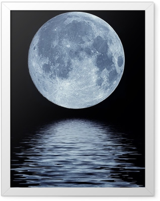 Full moon over water Framed Poster