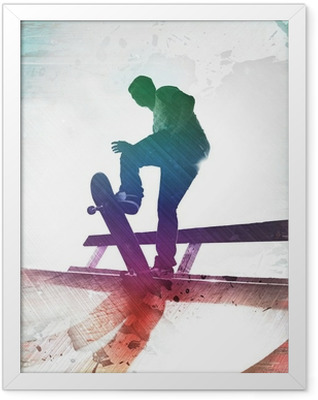 Grungy Skateboarder Framed Poster