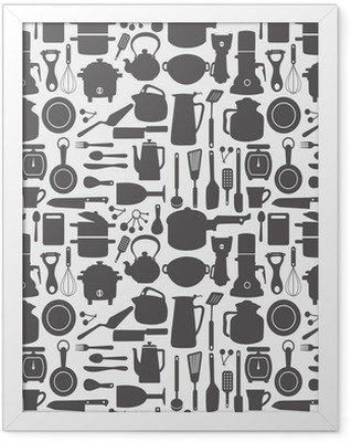 seamless kitchen pattern Framed Poster