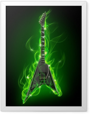Electric guitar in green fire and flame Framed Poster