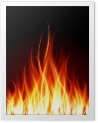 Burn flame fire vector background Framed Poster