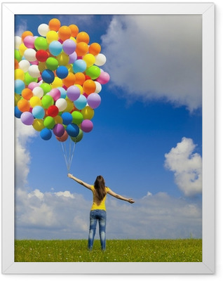 Girl with colorful balloons Framed Poster