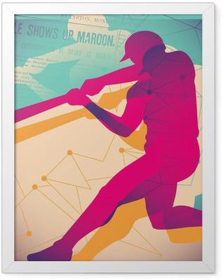 Illustrated baseball poster. Framed Poster