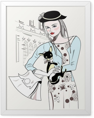 Sketch of fashion retro girl with a little dog Framed Poster