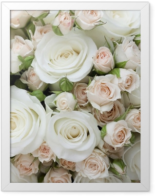 Wedding bouquet of pinkand white roses Framed Poster