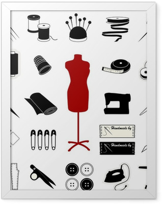 Sewing and Tailoring Icons Framed Poster