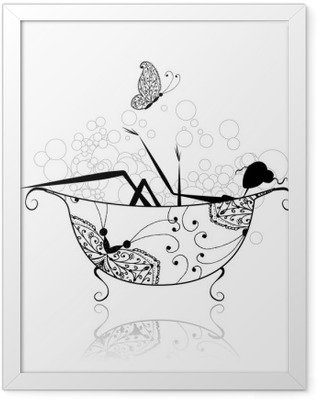 Woman in bathroom with foam for your design Framed Poster