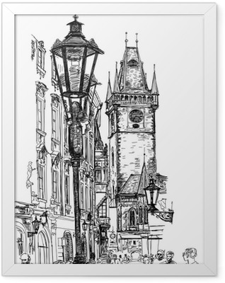 Prague, Czech Republic - a vector sketch Framed Poster