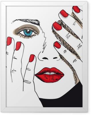 Poster en cadre Croquis de visage belle femme. Vector illustration