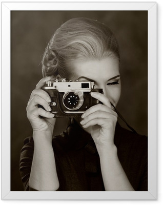 Woman in classic dress with retro camera. Framed Poster