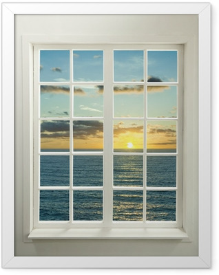Modern residential window with sunset over sea and clouds Framed Poster
