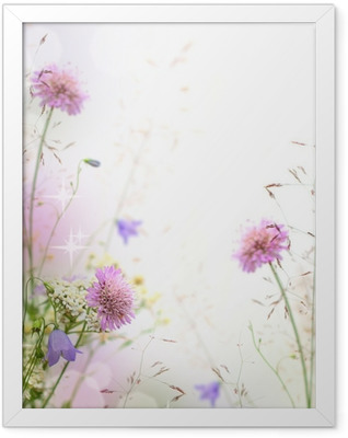 Beautiful pastel floral border - blurred background Framed Poster