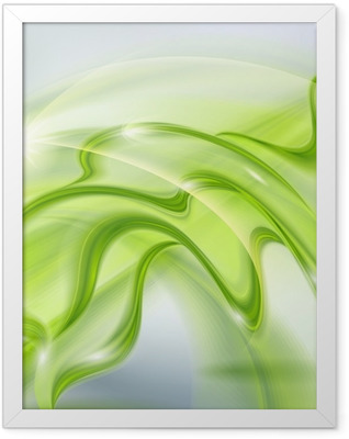 Abstract green waving background Framed Poster