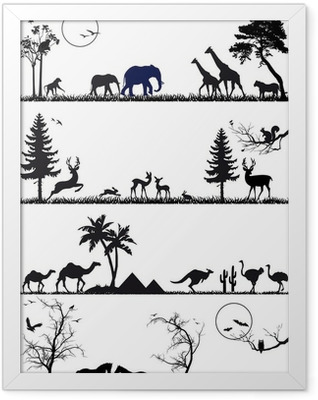 wildlife animal background set, vector Framed Poster