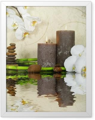 Orchidee weiß mit Bambus und Kerzen und Steinen Framed Poster