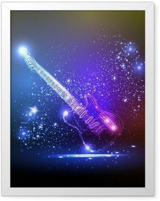 neon light guitar, grunge music Framed Poster