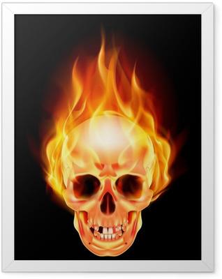 Scary skull on fire Framed Poster