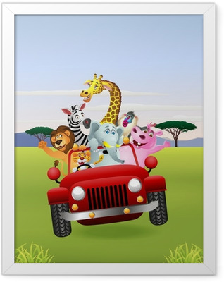African Animals In Red Car Framed Poster