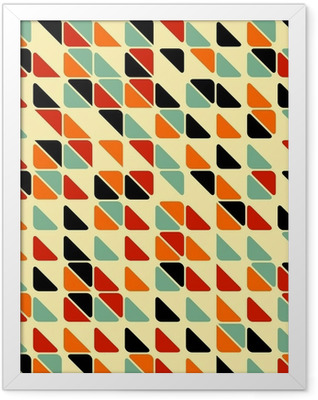 Retro abstract seamless pattern with triangles Framed Poster