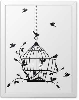 free birds with open birdcage, vector Framed Poster
