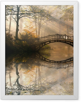 Autumn - Old bridge in autumn misty park Framed Poster