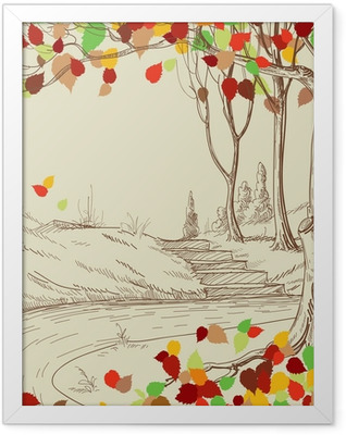 Autumn tree in the park sketch, bright leaves falling Framed Poster