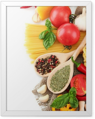 Pasta spaghetti, vegetables and spices, isolated on white Framed Poster