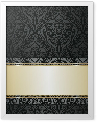 Silver luxury vintage wallpaper Framed Poster