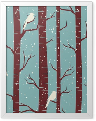 Winter Forest Seamless Pattern Framed Poster