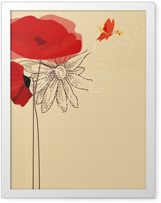 Floral invitation, poppies and butterfly vector Framed Poster