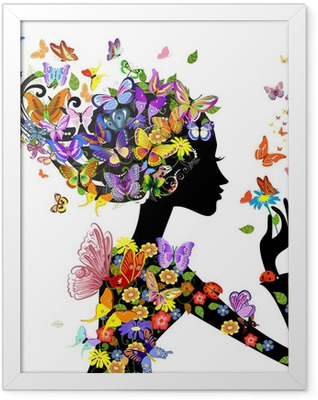 girl fashion flowers with butterflies Framed Poster