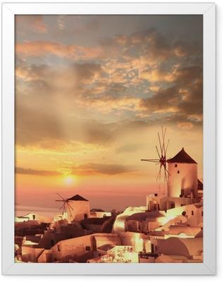 Windmills in Santorini against sunset, Greece Framed Poster