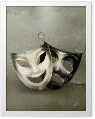 Theater masks, old-style Framed Poster