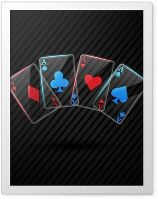 four Glass poker aces playing cards illustration transparent Framed Poster