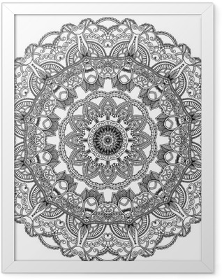 Black lace circle on white background. Ornamental mandala Framed Poster