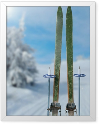 cross country skiing on a sunny winter day Framed Poster