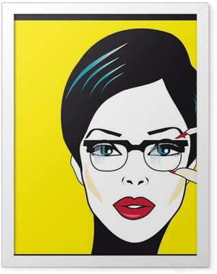 Eyewear glasses woman closeup portrait. Woman wearing glasses ho Framed Poster