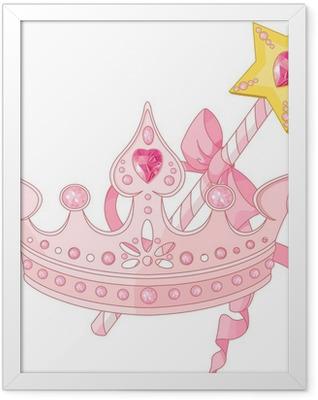Princess crown and magic wand Framed Poster