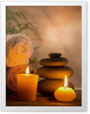 Spa still life with aromatic candles Framed Poster