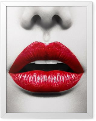 Sexy Lips. Conceptual Image with Vivid Red Open Mouth Framed Poster