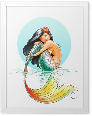 mermaid fairy-tale character illustration on white background Framed Poster