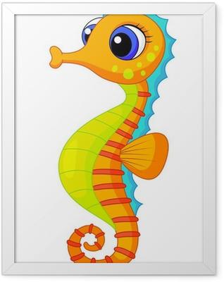Cute seahorse cartoon Framed Poster