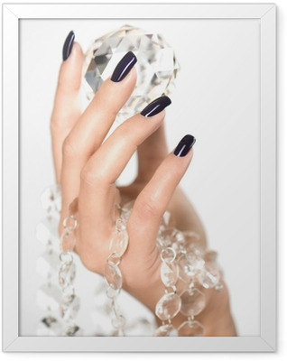 Beautiful woman hands with big diamond Framed Poster