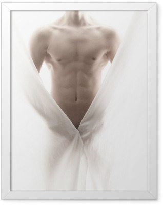 front of a partly nude male body Framed Poster