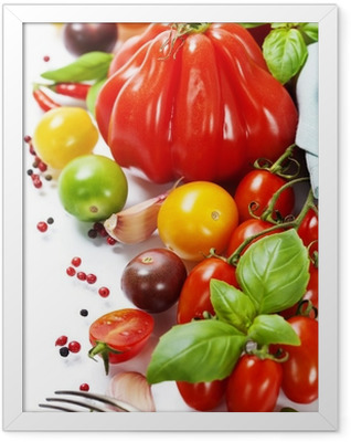 fresh tomatoes and herbs - healthy eating concept Framed Poster