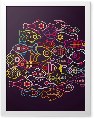 Colorful Fishes Framed Poster