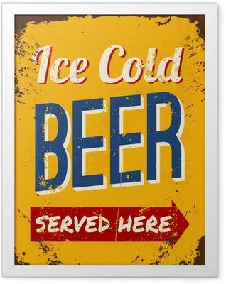 Vintage Beer Tin Sign Framed Poster