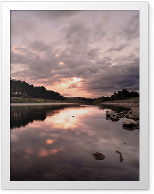 Flowing river during evening in New Zealand Framed Poster