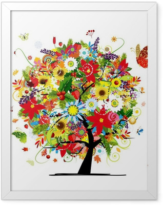 Four seasons concept. Art tree for your design Framed Poster