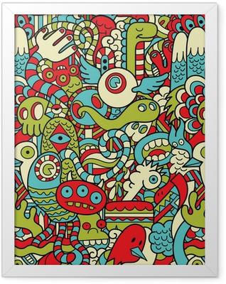 Seamless Hipster Doodle Monster Collage Pattern Framed Poster